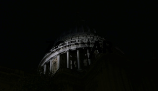9 October 2021 - London, UK: St Paul's Cathedral against night sky