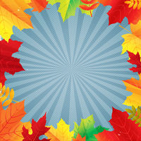 Sale Autumn Poster With Sunburst And Leaves