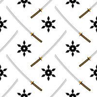 Set of Ninja Star. Asian Traditional Katana Weapon. Shuriken Logo. Japan Ancient Sword
