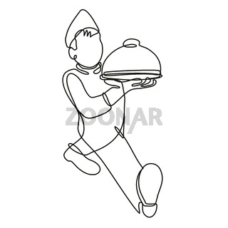 Waiter or Food Server Serving a Food Platter Front View Continuous Line Drawing