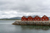 colorful red wooden houses on the oceanfront in the Lofoten Islands of Norway
