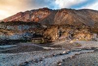 Echentive volcanic black sand beach in Fuencaliente, La Palma