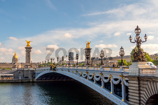 Sunny Day in Paris and Alexandre III Bridge