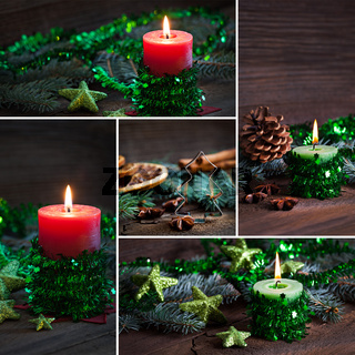 Collage Weihnachtskerzen