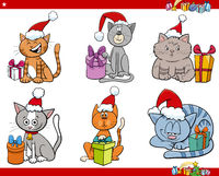 cartoon cats with presents on Christmas time set