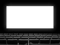 Cinema movie theatre with seats and a blank white screen
