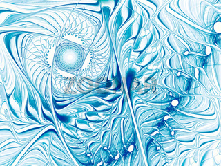 Curls and curves - white and blue fractal pattern
