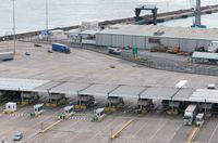 Trucks on Dover docks station before the customs to tranfer goods to France.