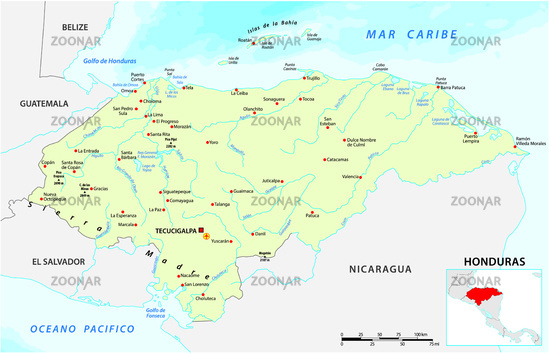 Vector map of the Central American Republic of Honduras