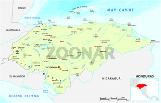 Vector map of the Central American Republic of Honduras.eps