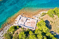 Roman  historic villa Rustica ruins aerial view, Dugi Otok island