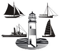 Lighthouse with ships and sailing ships isolated on white, illustration