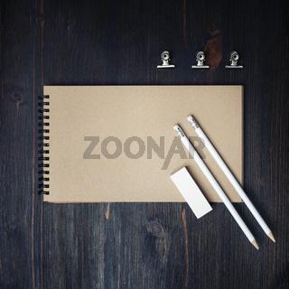Kraft sketchbook, pencils, eraser
