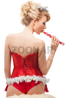 sexy cheerful santa helper girl