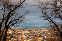 View from Petrin Park on Prague City at  sunset. Czech Republic.