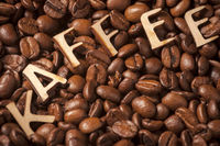 Coffee beans with word