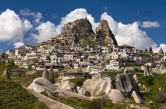 town of Uchisar with the Castle Rock, Turkey