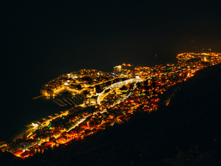 Dubrovnik's Old Town at night. The view from the observation dec
