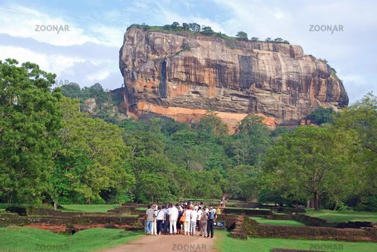 tourist group in Sigiriya, lion rocks, UNESCO world heritage site, Sri Lanka, Ceylon, Asia