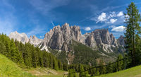 View of the Catinaccio group and the Vajolet Towers, Trentino, Italy