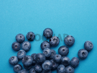 A bunch of blueberries on a blue background