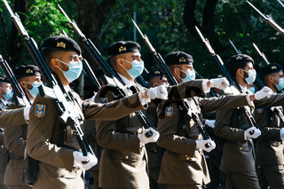 Soldiers during Spanish National Day Army Parade in Madrid.