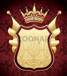 Red and gold coat of arms design