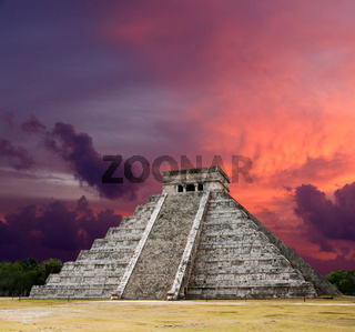 Mayan pyramid of Kukulcan El Castillo on sunset. Chichen-Itza