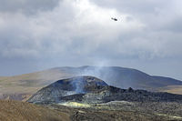 Helicopter over the vulcano