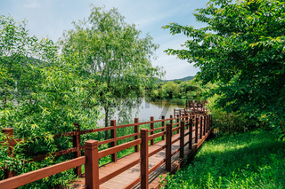 Lake and forest trail at Incheon Grand Park in Korea
