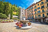 Town of Bellagio church square colorful architecture view, Como Lake