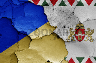 flags of District XXII. (Budafok-Teteny) and Budapest painted on cracked wall
