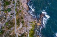 Drone View of rocky cliff coast on Bornholm, Denmark