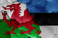 flags of Wales and Estonia painted on cracked wall