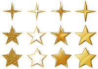 Vector Set of Metallic Golden Stars