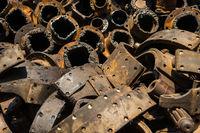 Closeup view of pile of old rusty metal scrap