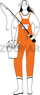 Fisherwoman flat vector illustration. Sport, active leisure. Fisher with fishing rod and bucket isolated cartoon character with outline elements on white background