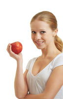 pretty girl holding a red apple