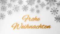 Modern German Merry Christmas background with snowflakes on white