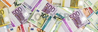 Euro Banknotes laying on table