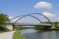 Bridge crossed the Datteln-Hamm-Canal, Luenen, Ruhr area, North Rhine-Westphalia, Germany, Europe