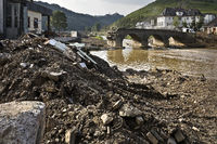 Flood disaster 2021, rubble and destroyed Nepomuk brigde over the river Ahr, Rech, Germany, Europe