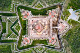 Elvas Fort drone aerial top view of Forte Nossa Senhora da Graca in Portugal