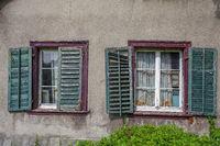 House wall with old windows in Schaffhausen, Switzerland