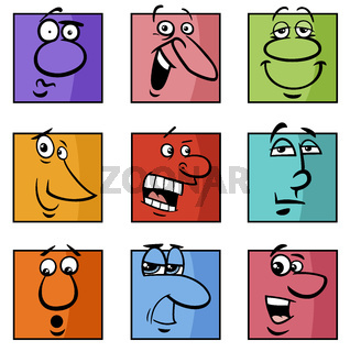 characters or emoticons cartoon illustration set