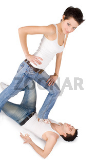 Brightly picture of young man holding female leg in high heels