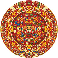 Aztec Sun Stone Illustration In Full Colour