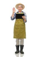 senior gardener with tablet pc having video call