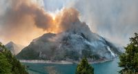 Wildfire at Piva Lake in national park of Montenegro