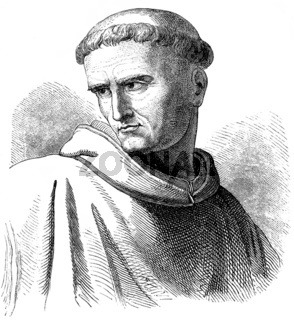 Historical drawing from the 19th Century, portrait of Saint Boni